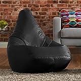 Hi-BagZ® Außensitzsack mit hohem Rückenteil - Gartensitzsack - 100% Wasserabweisend (Schwarz)