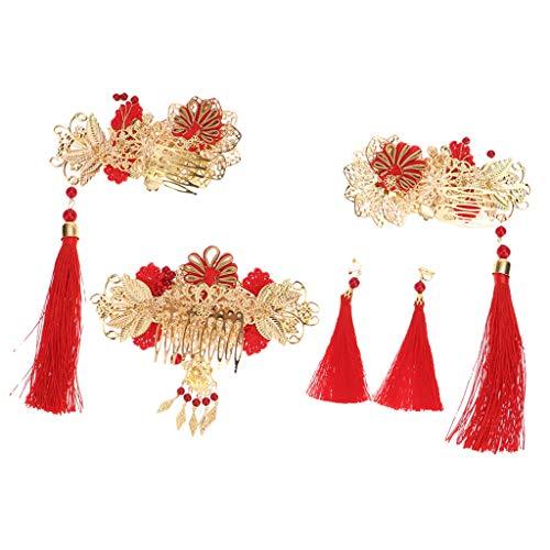 non-brand Chinesische Hochzeit Braut Kopfbedeckungen Set Lange Quaste Goldene Haarschmuck