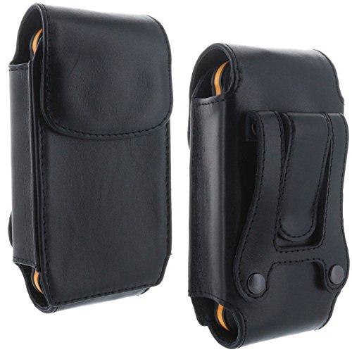 Preisvergleich Produktbild XiRRiX Echt Leder Handy Gürteltasche 4.0 mit Stahlclip für CAT B25 - Cyrus CM7E CM15 - RugGear RG100 RG300 RG160 Pro - Handytasche schwarz