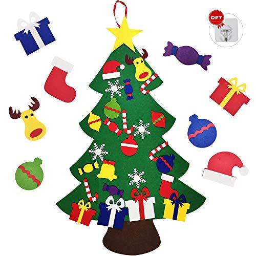 PHYLES Sapin de Noël, Sapin de Noël en Feutre avec 26 Ornements, Nouvel an Décorations Murales Suspendues
