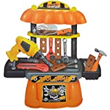 #6: Halo Nation 31 Piece Toy Tool Kit Play Set Portable Folding Work Bench Workshop with Drill for Kids