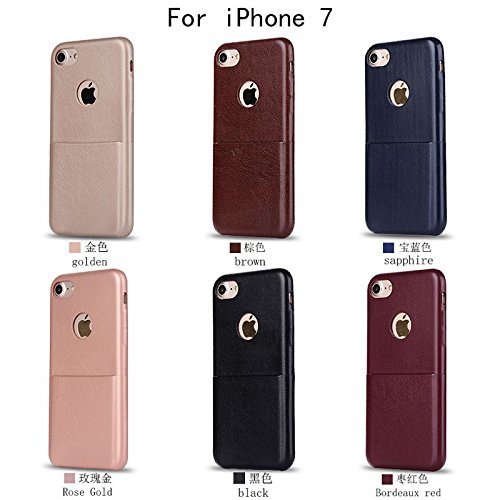 """HYAIT® For IPHONE 7 4.7"""" Case[PU][Credit Card Slots] Dual Layer Hybrid Armor Rugged Plastic Hard Shell Flexible TPU Bumper Protective Cover-PUE05 BHE03"""