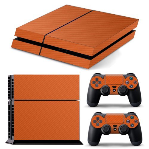 ps4-textured-orange-carbon-fibre-skin-wrap-cover-decal-cover-for-sony-playstation-4-2x-matching-cont