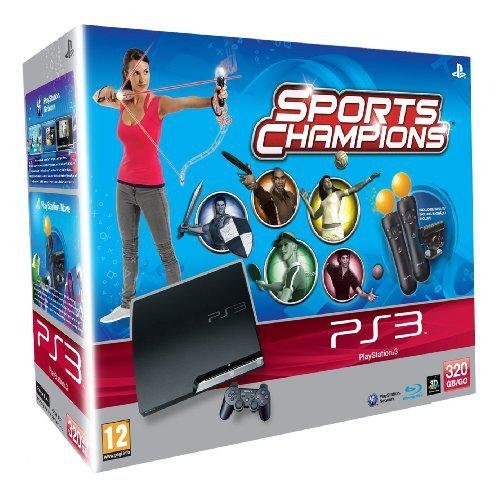 Spielkonsole PS3 Slim 320 GB + Entdeckungsset Move + Sport Champions [PS3]