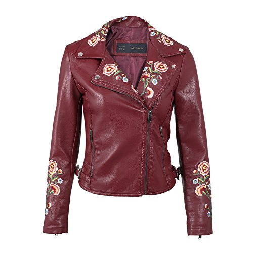 Simplee Apparel Damen Jacke Kurz Blumen Sticker Cusual PU Leather Zipper Jacke Bikerjacke Rot S-XL