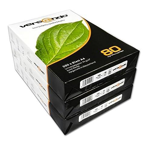Versando V80A4801500 Kopierpapier, DIN A4, 80g/qm, 3 x 500 Blatt, weiß