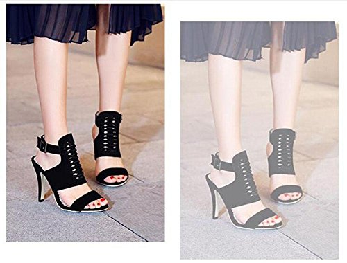 GLTER Frauen Peep Toe Knöchelriemen Pumps Fine High Heel Charming Slingback römischen Sandalen können angepasst werden 32-43 Size Code Schuhe Black