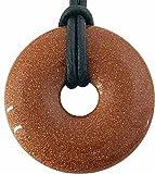 Donut Goldfluss 40 mm mit Lederband/Edelstein Anhänger rot mit Glitzer