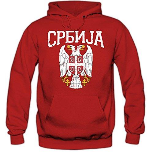 Shirt Happenz Serbien Wappen Premiumhoodie | Serbien | Republik Serbien | Belgrad | Herren-Kapuzenpullover Rot