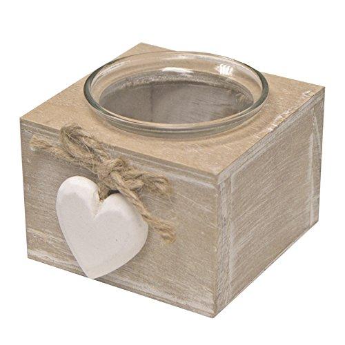 Just Contempo Chic cuore portacandele, colore: bianco, Natural Beige, 8 x 8 cm