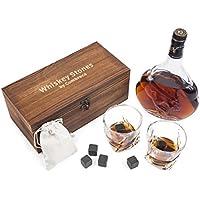 Set Cadeau Pierres Glaçons de Qualité pour Whisky Scotch avec Verres à Whisky : 8 Pierres de Refroidissement en Granit Noir Poli FDA pour Whisky et Autres Boissons, 2 Verres à Whisky en Cristal, Pochette en Velour, Boîte en Bois, Glacons