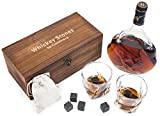Cumbreca Set da Regalo con Bicchieri da Whisky, Whisky Stones 8 Pietre Rinfrescanti in Granite Lucida, 2 Bicchieri da Whiskey in Cristallo, Borsetta in Velluto e Astuccio in Legno