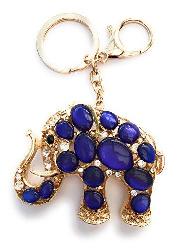 FizzyButton Gifts Elefant Schlüsselring Handtasche Charme - Goldton mit Strass-Steinen, (Blau)