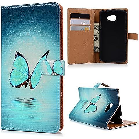 LG K5 Funda, Lanveni Flip Case Cover de cuero PU Piel para LG K5 con cierre magnético y función de soporte - Patrón La mariposa azul Diseño
