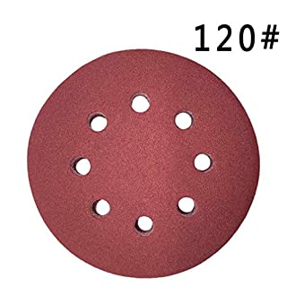 Maveek 50 Pieces 8 Holes Sanding Discs 120 Grit 5 Inch Hook and Loop Sandpaper Assortment for Random Orbital Sander