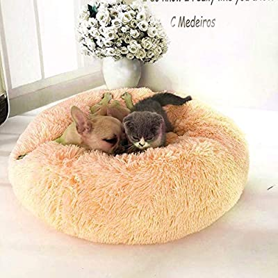Mkiki Pet Dog Cat Calming Bed Round Nest Warm Soft Plush Comfortable for Sleeping Winter by Mkiki