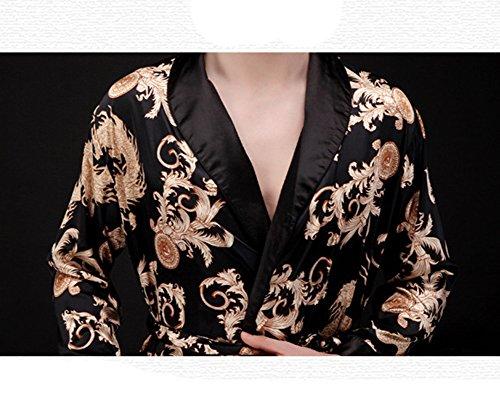 Coppia Pigiama Kimono Seta Inverno Manica Lunga Satin Accappatoio Cintura Nero (Uomini)