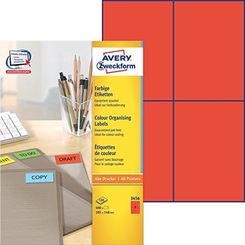 Avery Zweckform 3456 Farbige Etiketten (A4, 400 Stück, 105 x 148 mm) 100 Blatt rot