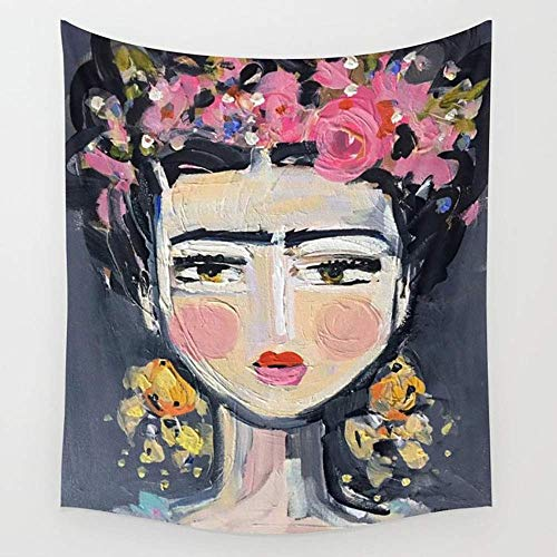 Daawqee Fine Frida Wall Wandteppiche Hanging Tapestries Wall Art for Living Room Bedroom Dorm Decor 80X60 inches - Fine Art Tapestry Wall Hanging