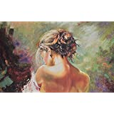 PAINTING Fabriena Canvas Fabric Painting Textured-Lady Back Pose Textured Knife Painting (Special Textured Knife Effect Print ) 17 Inch*26 Inch UNFRAMED PREMIUM MUSEUM GRADE CANVAS FABRIC HANDAMDE FEEL PRINT WITH TEXTURE