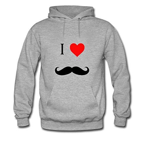 HGLee Printed DIY Custom mustache Women's Hoodie Hooded Sweatshirt Gray--2
