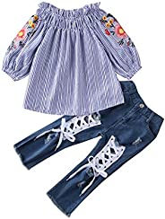 Completi Jeans per Bambina - Top con Volant con Spalle Scoperte Camicia e Jeans Strappati Set di Pantaloni in