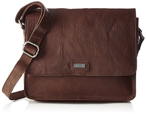 Spikes & Sparrow Damen Flap Bag Umhängetasche, 13 x 20 x 26 cm Braun (Dark Brown)