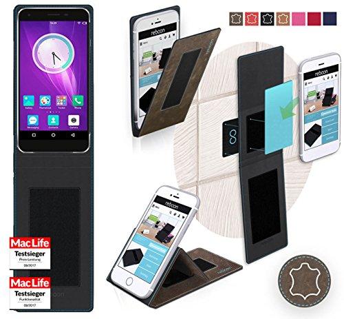 reboon Hülle für Elephone S1 Tasche Cover Case Bumper | Braun Wildleder | Testsieger