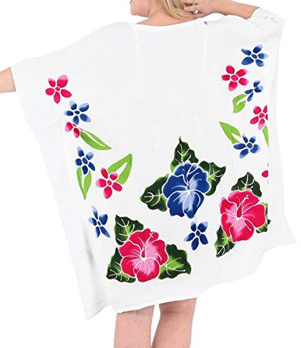 La Leela Bademode Badebekleidung Badeanzug KimonoBluse lose Bikini  Vertuschung Kleider der Frauen Weiß