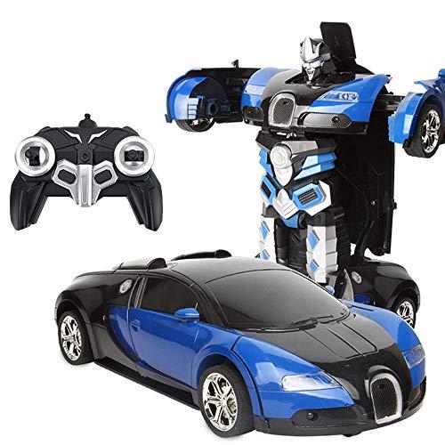 Teepao Auto Robot Trasformabile Set di Giocattolo per Auto Modello Telecomandato Regalo Robot Bambino Auto Blu