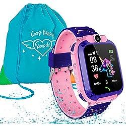 Koopete.Smartwatch niños Impermeable.Regalo de Mochila.Reloj Inteligente,con Llamadas,localizador LBS,cámara Fotos,botón SOS,Pantalla táctil,Juego,Despertador. (Rosa)