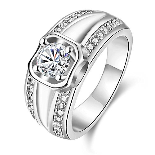 Via Mazzini Platinum Plated Crystal Proposal Ring For Boys And Men (Ring0411)