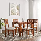 RjKart Sheesham Wood Dining Table Set with 4 Chair for Living Room- Honey Finish