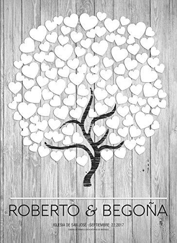 """Libro de firmas """"Árbol Corazón""""   Crea un cuadro con la firma de tus invitados   Original y Personalizado   110cm x 80cm (10mm B&W)"""