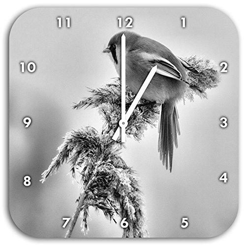 Monocrome, kleiner Vogel auf Weizen im Winter, Wanduhr Durchmesser 28cm mit weißen spitzen Zeigern und Ziffernblatt, Dekoartikel, Designuhr, Aluverbund sehr schön für Wohnzimmer, Kinderzimmer, Arbeitszimmer