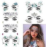 Umiwe 6 Stück Strass Juwelen Face Tattoo Sticker, Schmucksteine Kristall Glitzersteine Aufkleber Temporäre Stickers Glitter MAKE-UP für Party Festival Shows, Glitzer Effekt, Parties, Shows (Multicolor A4)