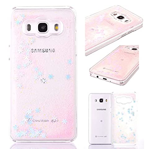 Samsung Galaxy J7 Case Glitter,Liquid Case for Samsung Galaxy J7[Scratch Resistant],Novelty Fashion Pretty Cool Cut Funny Fantastic 3D Bling Sparkle Shiny Glitter Liquid Quicksand Flowing Floating Snowflake Creative Design Crystal Clear Pattern Transparent Hard Plastic Skin Protective Shockproof Back Bumper Cover Case for Samsung Galaxy J7 2016 5.5 Inch Screen,Pink