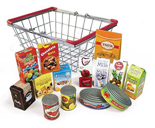Elfenstall Kaufladen Zubehör Set Einkaufskorb gefüllt  Lebensmittel Spiel-Küche Kaffee Milch Müsli Nudeln Fisch & Mehr  Kaufmannsladen Einkaufsladen Geschenk für Kinder