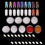 LABOTA 9 Boxes Shell Polvere Effetto Specchio, Pearl Powder Nails Art Glitter Chrome Metallic Manicure Pigment with 9 pcs Eyeshadow Sticks