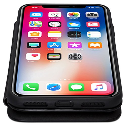 CASEZA Cover iPhone 8 / Cover iPhone 7 Nero Similpelle a Libro