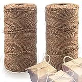Natürlicher Jutegarn 2er Pack - Beste Bastelschnur Zum Bastel, Geschenke Verpacken, Verpackungen, Gartenarbeit und Mehr - 200m Hochqualitative 3-lagige Kordel für Haus und Garten