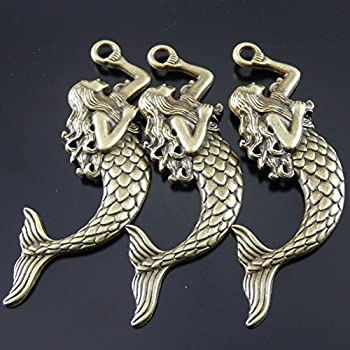 Juliewang 2pcs Antique Bronze Alloy Myth Fairy Tale Mermaid Charms Pendants Crafts 3