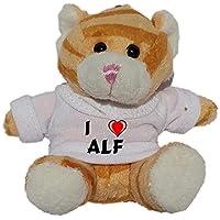 Gato marrón de peluche (llavero) con Amo Alf en la camiseta (nombre de pila/apellido/apodo)
