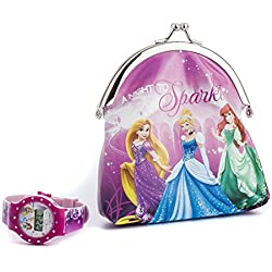 Disney Princess Girl's Quartz Watch with LCD Dial Digital Display and Multicolour Plastic Strap DP156