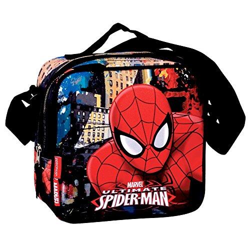 Montichelvo borsa portameriendas termica modello spiderman town, composito, multicolore, 25x 8x 20cm