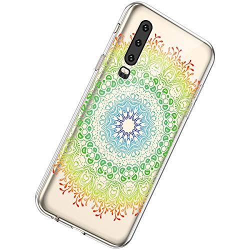 Herbests Kompatibel mit Huawei P30 Handyhülle Transparent Bunt Blumen Muster Motiv Schutzhülle Durchsichtige Crystal Clear Case TPU Silikon Handytasche Hülle,Mandala Blumen Grün