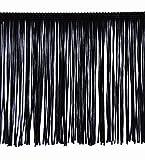 15cm Fransenborte Tanzfransen, Charlestonfransen - Fransen mit Laser geschnitten gegen Ausfransen (schwarz)