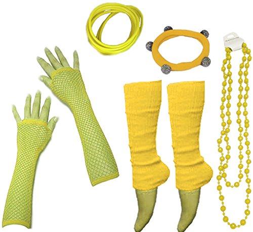 A-Express 80er Damen Neon Beinstulpen Handschuhe Halskette Shamballa Tüll Fluo Ballett Verkleidung Party Tutu Kostüm (Kostüme 80er)
