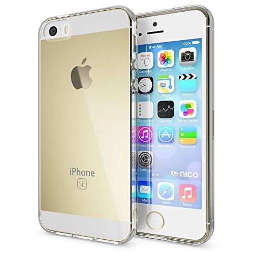 iPhone SE 5 5S Coque Protection de NICA, Housse Motif Silicone Portable Premium Case Cover Transparente, Ultra-Fine Souple Gel Bumper Etui pour Apple iPhone 5 5S SE - Transparent Transparent