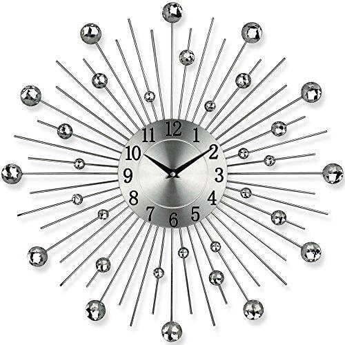 Küchenuhr - Bürouhr - Uhr - Moderne Designer Quartz Wanduhr Gerade - Silber